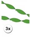 Groengekleurde crepe papier slingers 3x 5 meter